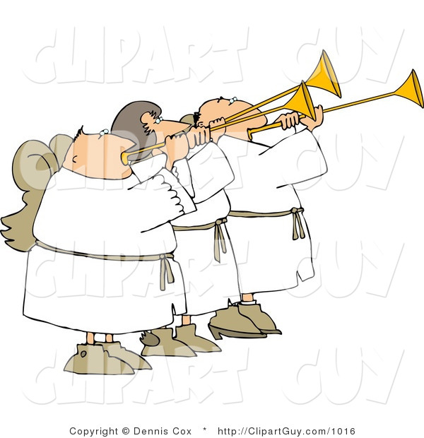 Clip Art of Three Angels Blowing Trumpets