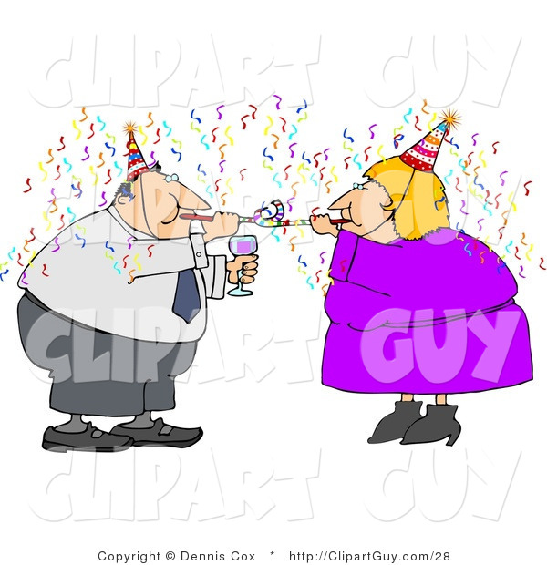 Clip Art of Two Business People Partying with Wine, Streamers, and Blowers on New Year's Eve