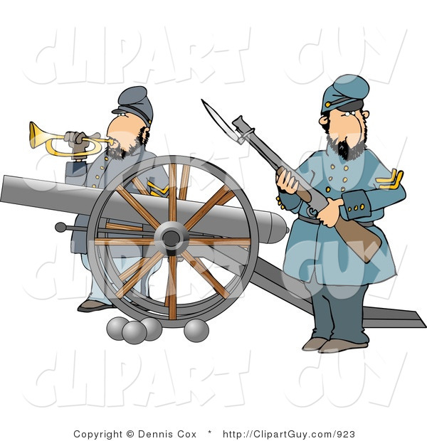 Clip Art of Two Civil War Soldiers Holding a Loaded Rifle and Playing a Bugler Horn Beside a Cannon on the Battlefield