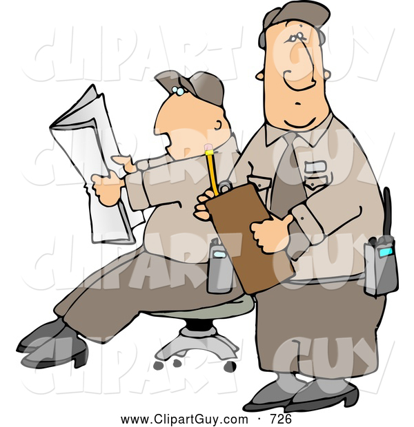 Clip Art of Two Male Security Guards Reading a Newspaper While Guarding Something