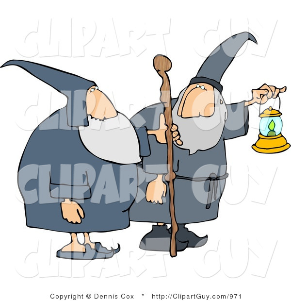 Clip Art of Two Male Wizards, One's Holding a Lantern and the Other Is Holding a Walking Stick