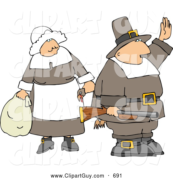 Clip Art of Two Pilgrims - Man and Woman