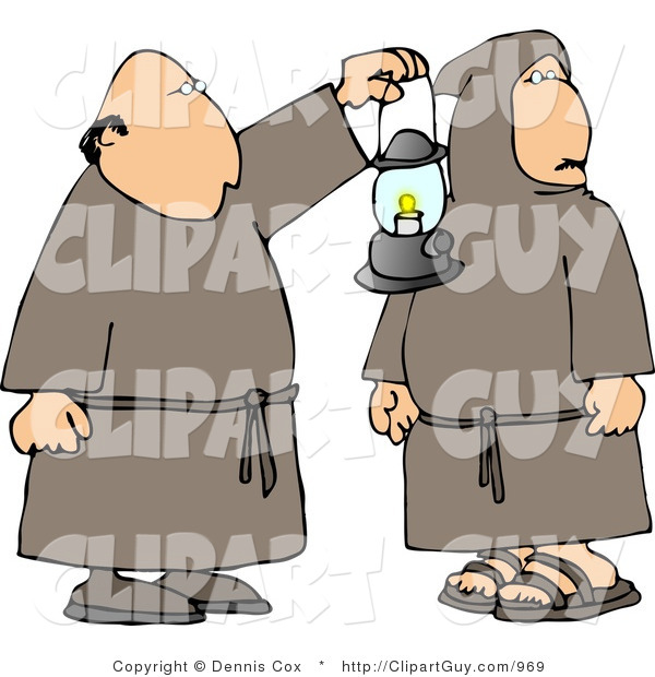 Clip Art of Two Religious Monks in Brown with a Lantern at Night
