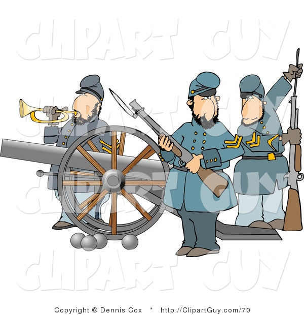 Clip Art of Union Soldier Men Armed with Rifles and a Canon