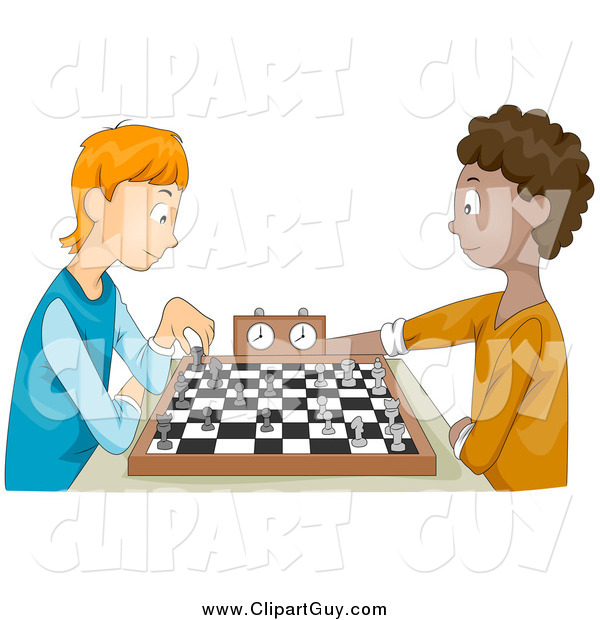 Clip Art of White and Black Teen Boys Playing Chess
