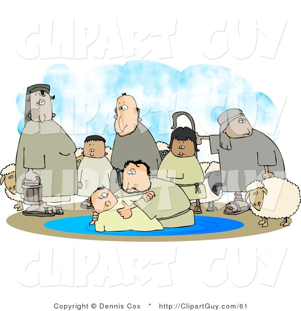 Clip Art of White Sheep and Family Watching Their Son Get Baptised by a Religious Christian Figure