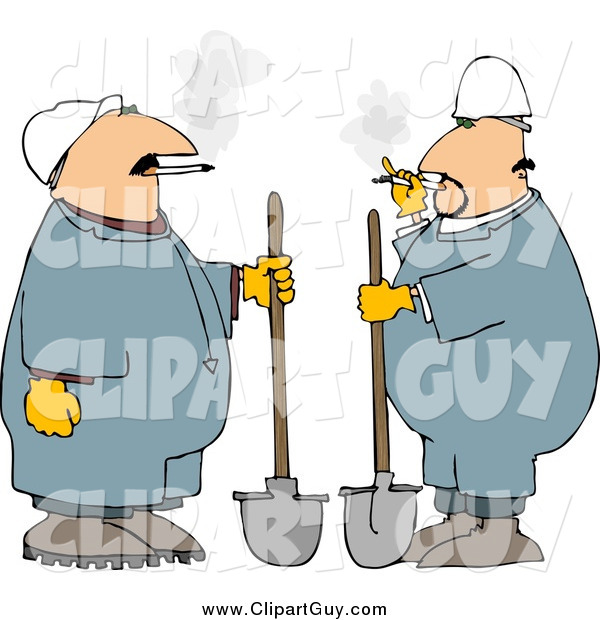 Clip Art OfWorkers Smoking Cigarettes and Standing with Shovels