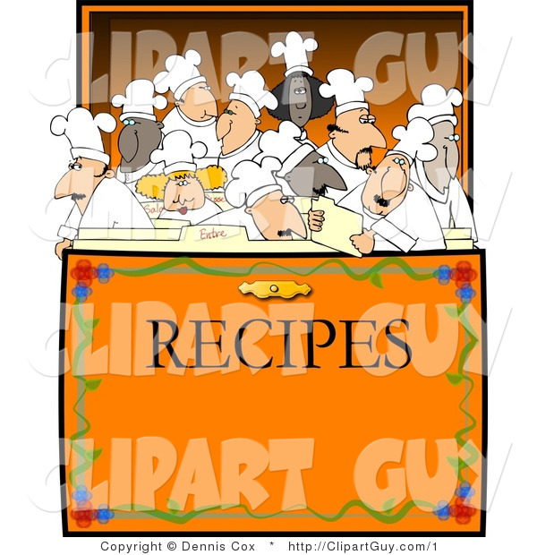 Vector Clip Art of a Crowded Recipe Box of Chefs - Royalty Free
