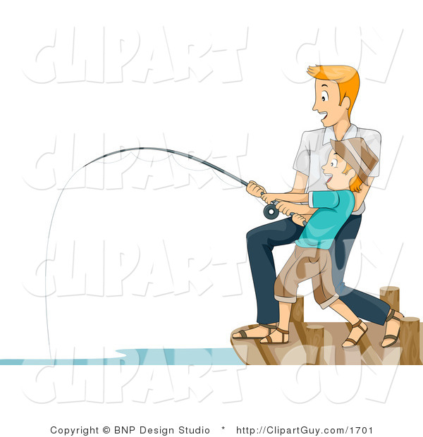 Vector Clip Art of a Man Helping His Son Reel in a Big Fish - Royalty Free