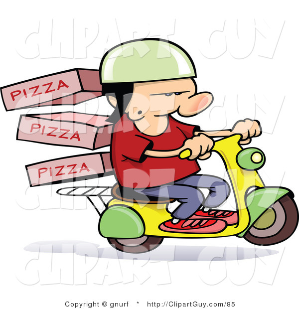 Vector Clip Art of a Pizza Delivery Scooter Guy - Royalty Free