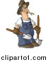Clip Art of a Caucasian Male Farmer Carrying Two Rounded Tip Shovels by Djart