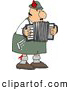 Clip Art of a Caucasian Male German Accordion Player Playing Music by Himself by Djart