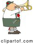 Clip Art of a Caucasian Male German Trombone Player Playing His Brass Instrument by Himself by Djart