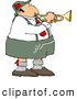 Clip Art of a German Trumpet Player Wearing Gray and White Cotton Lederhosen Clothing by Djart
