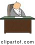 Clip Art of a Gray Suited Male Attorney Sitting Behind His Business Desk in His Lonely Office by Djart