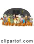 Clip Art of a Group of Nighttime Halloween Trick-or-Treaters Wearing Costumes and Standing Together As a Group by Djart