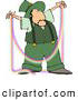 Clip Art of a Male Irish Leprechaun Making a Rainbow like Thread by Djart