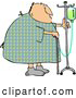 Clip Art of a Recovering Chubby Male Hospital Patient Walking Around with a Cane and an Intravenous Injection Drip Line Stroller by Djart