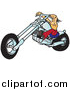 Clip Art of a Tough White Biker Dude Resting His Arms on His Chopper Handles While Taking a Ride on His Chrome Motorcycle by Snowy