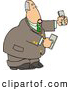 Clip Art of a White Banker Businessman Holding Cash Money in Both Hands by Djart