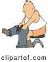Clip Art of AAdult Man Putting on Pants by Djart