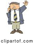 Clip Art of ABoring Business Man Talking on a Cellphone and Waving at Someone by Djart