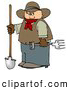 Clip Art of ABrown Cowboy Farmer Holding a Pitchfork & Shovel by Djart