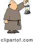 Clip Art of ACaucasian Monk Walking Around with a Lit Lantern During the Night by Djart