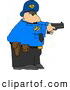 Clip Art of ADefensive Alert Policeman Pointing His Pistol at a Criminal by Djart