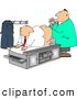 Clip Art of AEmbarrasing Picture of a Male Doctor Giving Patient a Prostate Examination - Humorous Medical Clipart by Djart