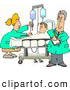 Clip Art of AHelpful Nurse and Doctor Caring for a Hospitalized Man Attached to an IV Fluid Drip Line by Djart