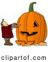 Clip Art of AMan Carving a Face into a Big Pumpkin Jack O Lantern for Halloween by Djart