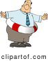 Clip Art of an Obese Businessman Wearing a Life Preserver, on White by Djart