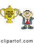 Clip Art of AnItalian Man Holding a Golden Worlds Greatest Dad Trophy by Dennis Holmes Designs