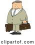 Clip Art of APacked up Older Businessman Ready to Travel to New York by Djart