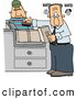 Clip Art of AScary Wanted Man Mailing a Package at the Post Office by Djart