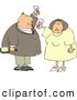 Clip Art of ASmiling Man and Woman at a Party Drinking Wine While Celebrating New Years Holiday by Djart