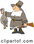 Clip Art of ASuccessful White Male Pilgrim Hunter Holding a Dead Turkey and a Gun - Thanksgiving Holiday by Djart