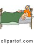 Clip Art of ATired Husband Trying to Wake up His Wife in Bed During the Early Morning by Djart