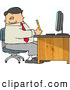 Clip Art of AWhite Business Man Filling out Paperwork at Wood Computer Desk in His Office by Djart