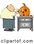Clip Art of AWhite Businessman Carving a Halloween Pumpkin with a Knife by Djart