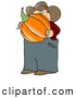 Clip Art of AWhite Caucasian Male Farmer Carrying a Freshly Harvested Halloween Pumpkin from His Garden by Djart