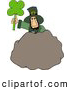 Clip Art of AWhite Leprechaun Standing Behind a Bolder with a Four Leaf Clover Leaf by Djart