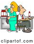 Clip Art of AWhite Nurse Cleaning Needle After Drawing Blood Samples from Male Patient - Medical Humor by Djart