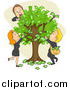 Clip Art of Caucasian Business People and a Money Tree by BNP Design Studio