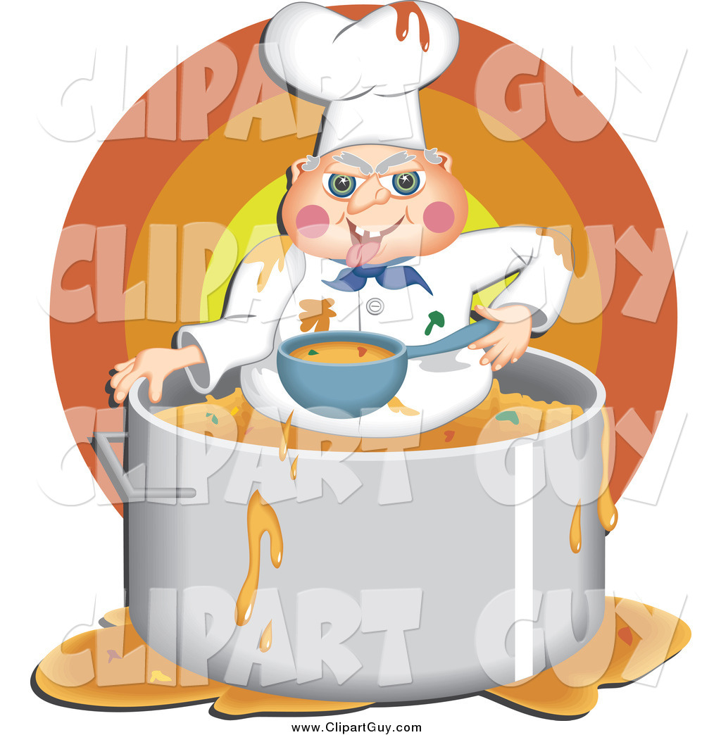 Cuisine Clipart of a Male Chef Holding a Ladle and Pot of Soup by djart -  #363