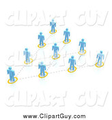 Clip Art of a 3d Blue People Network Forming a Triangle by Jiri Moucka