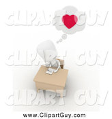 Clip Art of a 3d White Man Writing a Love Letter by BNP Design Studio