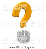 Clip Art of a 3d Yellow Question Mark Above a Circle of White People by Jiri Moucka