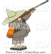Clip Art of a Bandito Aiming a Rifle and Getting Ready to Shoot at Something by Djart